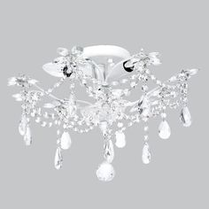 Jubilee Collections   Crystal Flower White Three-Light Semi Flush Mount
