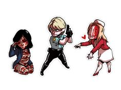Silent Hill 1 stickers (Alessa Gillespie, Cybil Benneth and Lisa Garland (cursed)) Silent Hill Art, Art Zine, Horror Video Games, Look Dark, Fandoms, Firefly Serenity, Iconic Characters, Gay Art, Horror Films