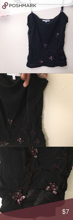 ⭐️Moving Sale!⭐️ Smart Set Black Mesh Cami Stitched with cute designs and a few sequins for mild flare, this top is super cute! Tag says medium, fits a small... And it's a bit short, so potentially a crop for some of you! Adjustable straps, semi sheer, Gently worn, still has life to life ! Smart Set Tops Camisoles