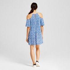 Women's Bandana Print Crochet Cold Shoulder Dress - Lots Of Love By Speechless (Juniors') Denim L, Blue White