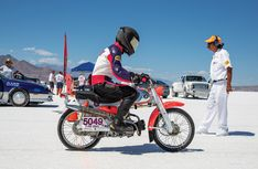 Attempting a land-speed record on a 1963 Honda at the Bonneville Flats in memory of a friend. (Story by Anders Carlson Touring Motorcycles, Motorcycle Touring, Triumph Motorcycles, Custom Motorcycles, Motorcycle Quotes, Girl Motorcycle, Nitro Circus, Dirt Bike Girl, Motosport