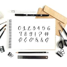 Learn how to make beautiful numbers and symbols! Calligraphy Quotes Love, How To Write Calligraphy, Calligraphy Practice, Beautiful Calligraphy, Copperplate Calligraphy, Calligraphy For Beginners, Calligraphy Tutorial, Lettering Tutorial, Bullet Journal Font