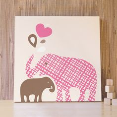 I seriously love this!!!! 20x20 Baby and Mommy Elephant Canvas - Pink/Brown - Kids wall art for nursery and children's room. $76.00, via Etsy.