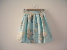 World Map Skirt, Map Printed High Waisted Skirt, Atlas Print, Cotton Skirt, Made to Order