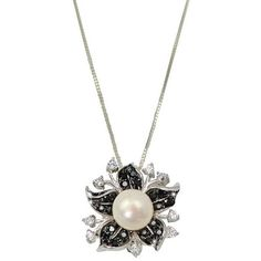 Contessa AAA Freshwater Pearl and Cubic Zirconia Floral Sterling... ($91) ❤ liked on Polyvore featuring jewelry, necklaces, cultured pearl necklace, fresh water pearl necklace, floral pendant necklace, pendant necklaces and sterling silver necklace