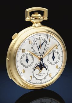 **Patek Philippe, 18K YELLOW GOLD OPEN-FACED MINUTE REPEATING PERPETUAL CALENDAR SPLIT SECOND CHRONOGRAPH WATCH WITH MOON-PHASES 1927-1957