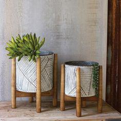 Set of 2 Pressed Tin Planters