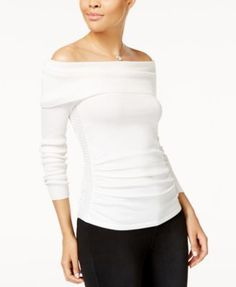 Hooked Up by IOT Juniors' Off-The-Shoulder Ruched Sweater | macys.com