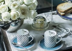 """PRINCELY PURSUITS The #Polo design story is inspired by Jaipur's sport of princes. The mugs are a perfect pairing of a cuppa and a """"chukka"""" and the demitasse service delivers espresso in royal elegance. Hand-decorated fine bone china with 24-carat gold and platinum accents. Shop the Polo #DesignStory on our #WebBoutique . #ChaiTime #GiftIdeas"""