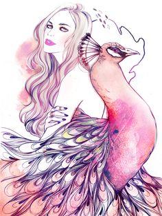 Birds of Peculiar - Soleil Ignacio Illustrations #fashion #illustration #fashionillustration #peacock