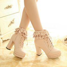 www.sanrense.com - Sweet lace high-heeled shoes