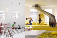 Rainbow House, London. Trap door in the floor pops open to reveal a slide that zips you down to the living room below that houses an oversized ball-pit like sofa.
