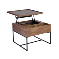 Click to zoom - Trim lift up compact coffee table walnut