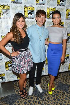 Jenna Ushkowitz & Kevin McHale & Naya Rivera    The Glee stars all looked great, but Naya Rivera stole the show in this stomach-baring color block ensemble at their hit show's press event.