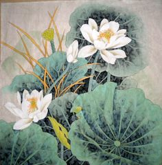 Tiger and Lotus Flower Painting   Chinese Painting: Lotus - Chinese Painting CNAG235356 - Artisoo.com