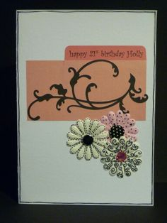 Card for female birthday with flowers & flourishes