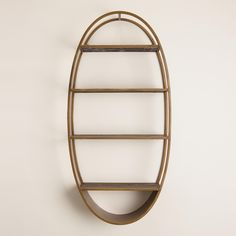 Oval Wood and Metal Wall Shelf from Cost Plus World Market on Catalog Spree Gold Shelf Brackets, Gold Shelves, Mounted Shelves, Hanging Shelves, Display Shelves, Vintage Wall Art, Vintage Walls, Wood And Metal, Metal Walls