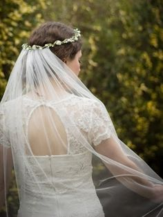 Boho flower crown and detachable wedding veil. Pelican Rose Bride.