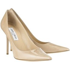 Pre-owned Jimmy Choo Abel Nude Patent Leather Pumps ($320) ❤ liked on Polyvore featuring shoes, pumps, nude, high heels stilettos, stilettos shoes, patent leather pointy toe pumps, nude patent pumps and patent pumps