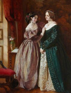 """Rosalind and Celia (c. 1854-1858). James Archer (Scottish, 1823-1904). Oil on canvas.Royal Scottish Academy of Art & Architecture. This work depicts a scene from Shakespeare's comedy 'As You Like It.' In the catalogue for the RSA Annual Exhibition, 1854, the entry for this painting was accompanied by the following quote: """"Celia.Why, cousin; why Rosalind! – Cupid have mercy! – not a word? Rosalind. Not one to throw at a dog."""" – 'As You Like It,' Act I, Scene iii."""