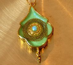 Turquoise tribal unusually shaped brass necklace by sassonorly, $90.00
