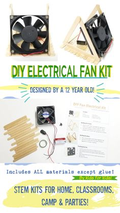DIY STEM Electrical Fan Kit - made by a 12 year old kid for kids! Comes complete with an on/off switch and a guide for kids to build their own fan base! Great for homeschool, classrooms, STEM camps, science engineering parties and more! Craft Stick Projects, Stem Projects, Science Fair Projects, Craft Stick Crafts, Projects For Kids, Garden Projects, Diy Crafts, Stem For Kids, Kits For Kids