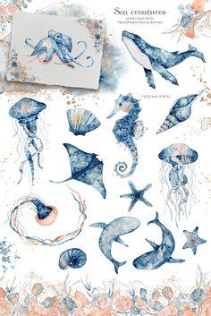 Watercolor Ocean, Watercolor Drawing, Watercolor Illustration, Watercolor Paintings Of Animals, Underwater Painting, Ocean Underwater, Underwater Tattoo, Sea Creatures Drawing, Ocean Drawing