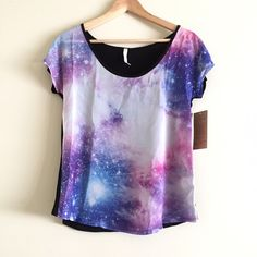 Star Gazer Top Go galaxy with this awesome top! Chiffon front, jersey back. NWT Tops
