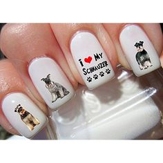 54 Schnauzer Nail Decals * Check this awesome product by going to the link at the image. (This is an affiliate link) #NailArtAccessories