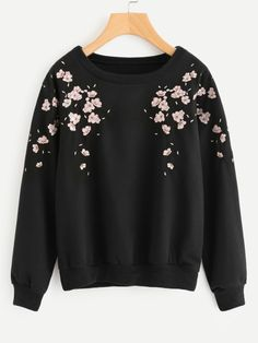 To find out about the Flower Petal Embroidered Sweatshirt at SHEIN, part of our latest Sweatshirts ready to shop online today! Girls Fashion Clothes, Teen Fashion Outfits, Trendy Fashion, Girl Fashion, Clothes Women, Fashion Black, Fashion 2020, Fashion Fashion, Spring Fashion