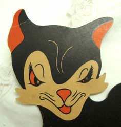 Vintage Halloween Black Cat Decoration Ornament - Orange Black 13 inches - Scary