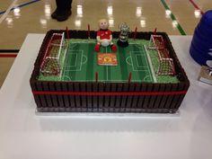 The Man Utd football pitch cake I made my Godson for his 6th birthday Xx