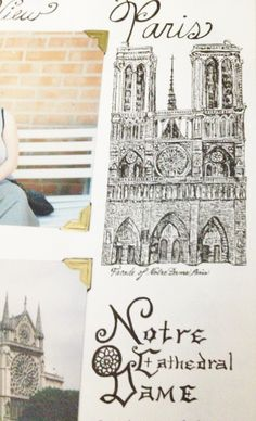 Sketch of the Cathedral of Notre Dame in a travel scrapbook (by Laura Lee Donoho)