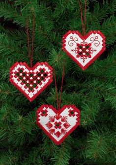 Hardanger Red Heart Ornaments Kit - Permin of Copenhagen Kit New Hardanger Embroidery, Embroidery Stitches, Embroidery Patterns, Hand Embroidery, Doily Patterns, Craft Patterns, Clothes Patterns, Dress Patterns, Types Of Embroidery