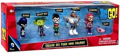 """The whole gang and Silkie too! - 2"""" Robin, Cyborg, Raven, Beast Boy, Star Fire, Silkie. - Officially licensed high quality toy from Jazwares. - Fun for ages 4 and up."""