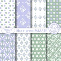 Lovely lilac white and green damask patterns door PrintableTales