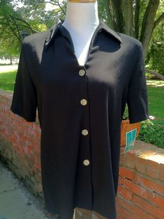 Black Short Sleeve Contrast Button Camp by PDeeVintage on Etsy