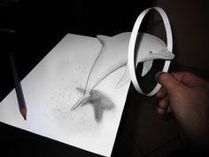 L'artista si chiama Alessandro Diddi, espone su  DeviantArt  e realizza disegni con fogli e matita, bidimensionali, che però illudono lo sguardo e la mente con una tridimensionalità che in effetti non c'è. Opere giocate sull'uso prospettico di ombre e angolazioni, ch