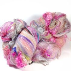 4.4 oz 125 grams luxury fiber art batts Sparkles and silk galore premium wool locks spinning dream