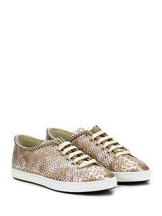 STOKTON - Sneakers - Donna - Sneaker in pelle effetto pitone con catena su profilo e suola in gomma. Tacco 20. - PLATINO\ROSA