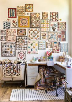 """Welcome to Laundry Basket Quilts! I'm Edyta Sitar; the designer behind the quilts, fabrics, patterns, and books for our small business """"Laundry Basket Quilts"""". Sewing Spaces, Sewing Rooms, Small Sewing Space, Small Quilts, Mini Quilts, Appliqué Quilts, Laundry Basket Quilts, Quilt Display, Quilting Room"""
