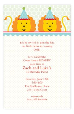 Birthday Lions Invitation
