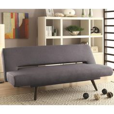 Coaster Furniture Mid-century modern grey adjustable sofa bed Upholstered in a grey woven Grey Sofa Bed, Futon Sofa, Sofa Beds, Pink Sofa, Couches, Futon Bedroom, Sleeper Sectional, Kids Bedroom, Loveseats