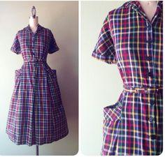50s plaid dress
