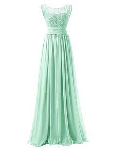 JAEDEN Damen Chiffon Ballkleider Lang Spitze Aermellose Abendkleider Festkleid Blau EUR32: Amazon.de: Bekleidung