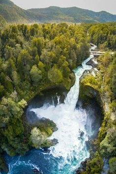 Huilo Huilo, an amazing waterfall located in Patagonian forests Places Around The World, Travel Around The World, Around The Worlds, Places To Travel, Places To See, Photos Voyages, All Nature, South America Travel, Belle Photo