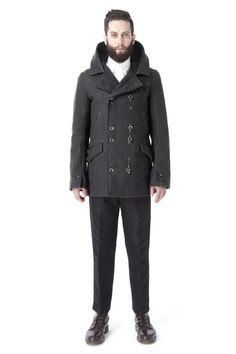 Krane-Asher: Hooded Peacoat in Charcoal Wool $990.44