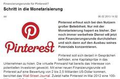 Finanzierungsrunde für Pinterest?  Schritt in die Monetarisierung