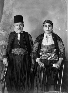 Portrait of an Albanian couple from Shkodër (northern Albania). Late 19th century. (Studio Marubi, Shkodra).