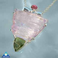 Pink Tourmaline, Kunzite & Moldavite Necklace SN143 by ArkadianCollection on Etsy